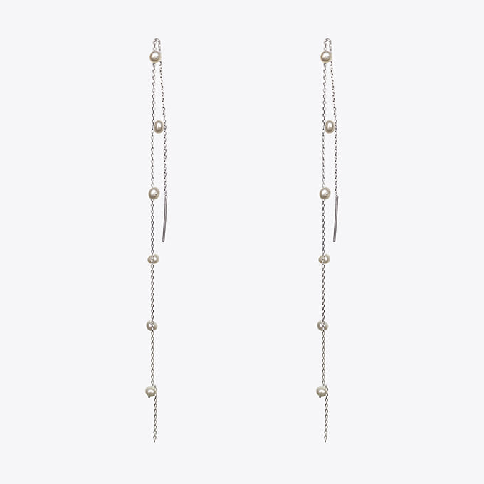 925 silver long drop pearl earring